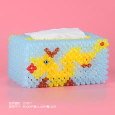 手工diy串珠中国金龙圣诞树大号纸巾盒抽纸盒材料包编织首饰盒