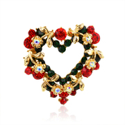 Mu-Mu-jewelry Christmas present brooch flower heart love Korean fashion jewelry Korea synthetic diamond crystal accessories