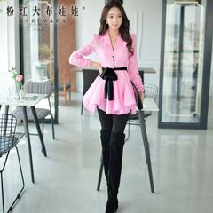 Women pants big pink doll 2015 fall's black Joker low waist stretch slim leg long ladies trousers