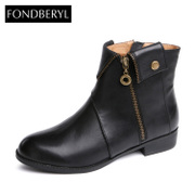 Fondberyl/feibolier 2015 new cowhide round head low and comfortable boot for fall/winter FB5411C117