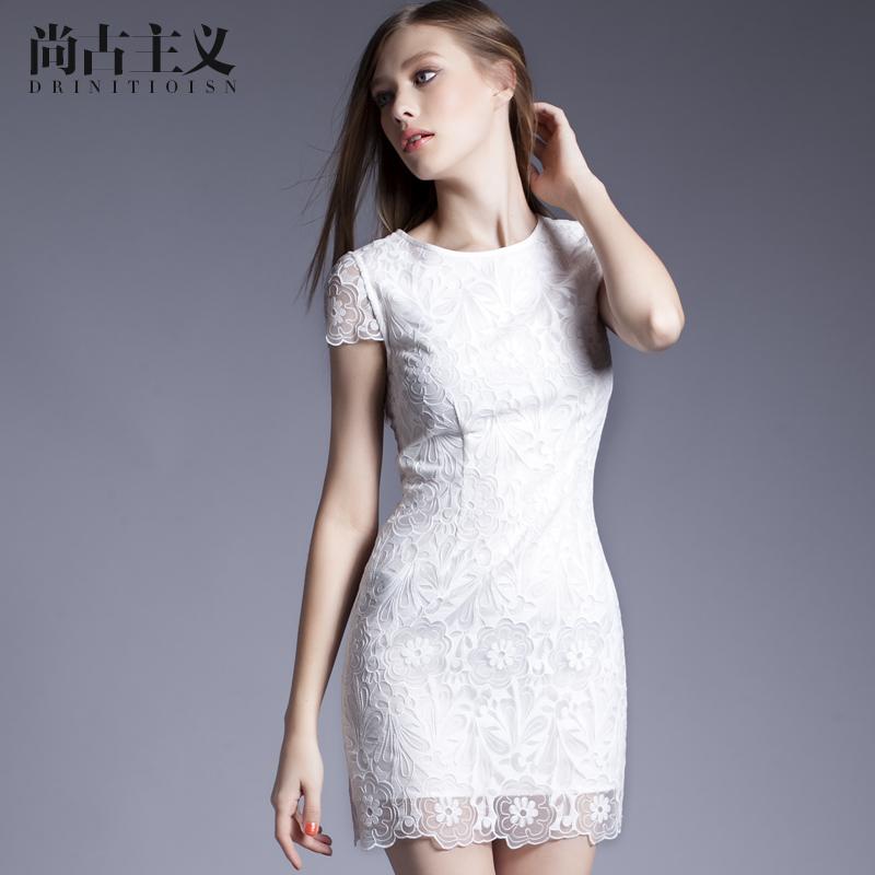 尚古主义2016夏装新款女装网纱刺绣短袖连衣裙纯色圆领修身一步裙