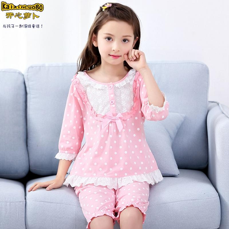 儿童睡衣女童夏季纯棉短袖女孩韩版中大童卡通公主薄款家居服套装