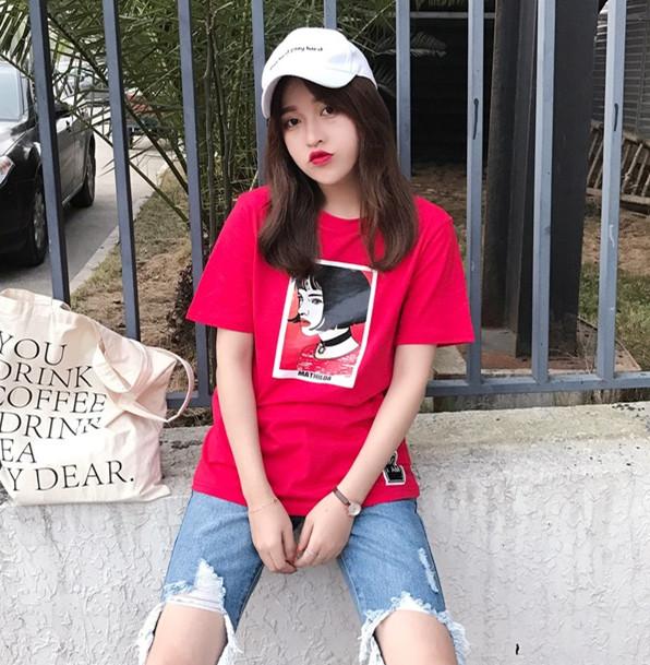 夏装夏季韩版ulzzang复古原宿T恤女短袖个性印花T恤女宽松中长款