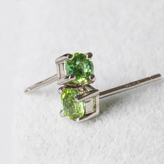 Natural Brazil old pit female inlay 925 sterling silver tourmaline earrings permeability of simple elegance and old customer benefits