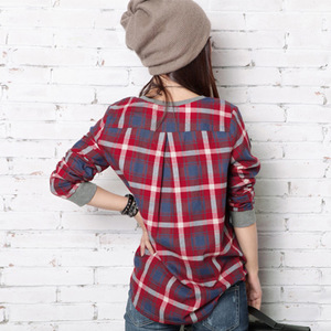 Korean version of the spring and summer thin paragraph lattice shirt shirt long-sleeved t-shirt loose large size female