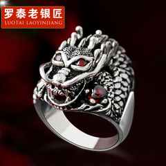 Vintage leading Thai silver ring 925 Silver jewelry City boy finger ring single domineering personality men''s rings