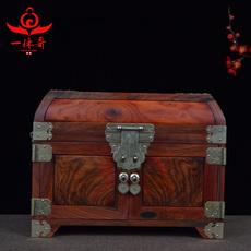 红木中式首饰盒结婚百宝箱婚礼压钱箱大红酸枝独板实木雕刻盒