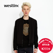 Westlink/West fall 2015 the new pure color mosaic baseball collar zipper jacket men's jacket