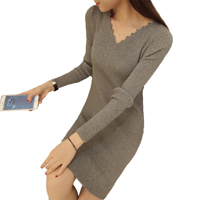 春秋新款韓版v領針織衫修身毛衣女裝中長款套頭打底衫長袖連衣裙