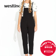 Westlink/West fall 2015 new Japanese and Korean casual letter strap ladies strap trousers