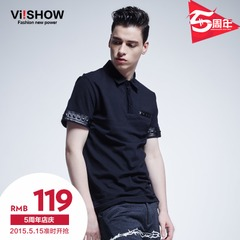 Viishow2015 summer styles fashion Paul rivet pattern short sleeve POLO shirts men's Black Polo