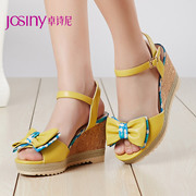 Zhuo Shini summer styles sweet bow Sandals ultra high heel wedges spell color shoes 142137440