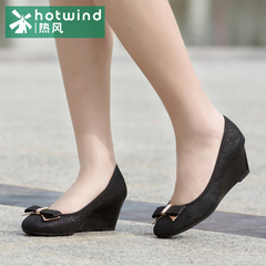 Hot air 2015 sweet shoes bow women shoes with the shallow port Europe, fan wedges 61H5816
