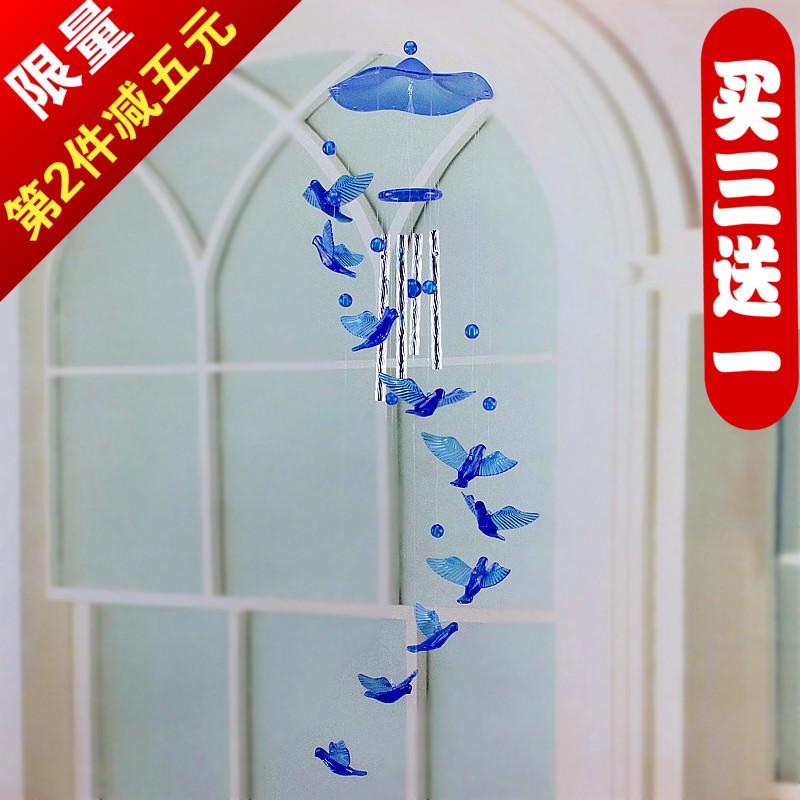热销创意仿水晶风铃挂饰门饰海豚四叶草星星月亮房间装饰小礼物