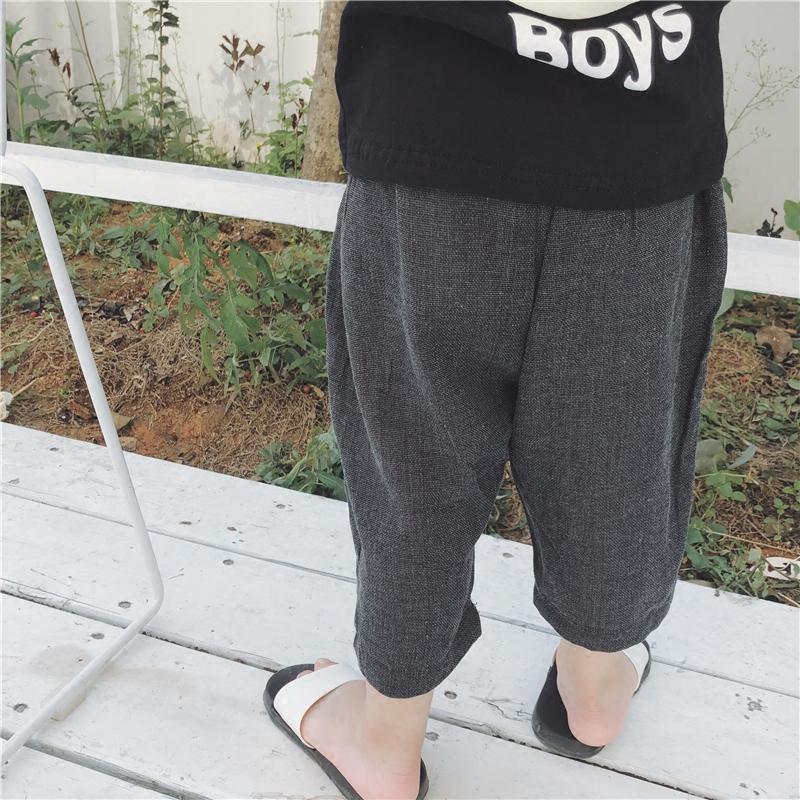 18夏韩版棉麻透气七分裤薄 1-3男女童休闲中裤宽松纯色萝卜网纱裤