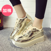 2015-end of autumn and the new thick gold and cashmere with lace casual shoes sneakers silver muffin tide women's shoes
