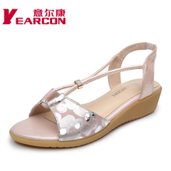 Erkang female new leather comfort Sandals 2015 summer women shoes for flat printing daily leisure sweet sandals