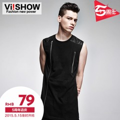 Viishow2015 summer dress new style cotton shirt in Europe and end of stitching of men shirts slim black vest