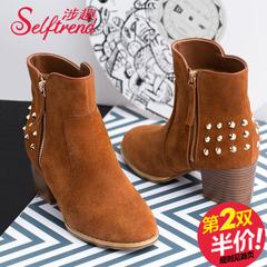 Interest involved the 2015 winter new style leather nubuck leather rivet head thick high heel women boots T55026