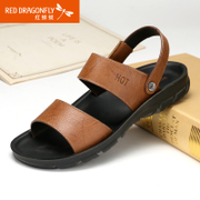 Red Dragonfly genuine leather men Sandals 2015 summer styles comfortable and breathable non-slip shoes casual men's shoes