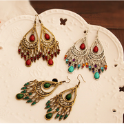 Bohemian classic European and American retro Palace color gemstone drop earrings women''s tri-color into the thin temperament