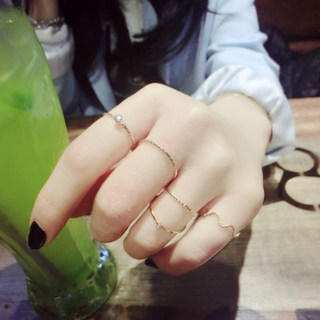 Email Korea Korean fashion jewelry women''s cute personality micro inlay ring joint rings zircon women finger ornaments