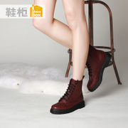 Shoebox new laced low shoe 2015 winter boots with round head square with neutral wind of England Martin boots