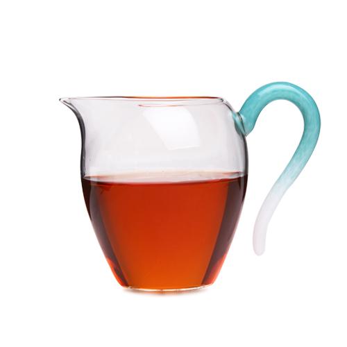 台湾自慢堂 玻璃大蛋盅 玉青蓝玻璃公杯 玻璃茶海 公道杯正品保真
