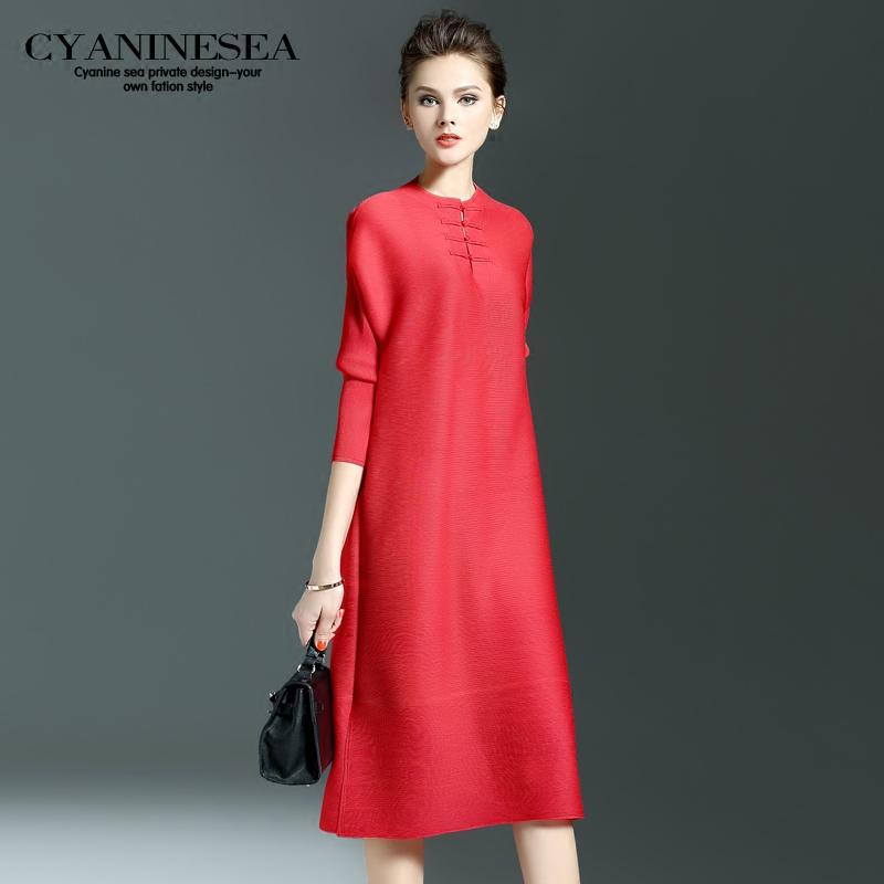 春装新款简约纯色褶皱一步裙圆领七分袖开叉宽松连衣裙