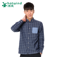 Hot air men's winter new style added Korean version of self check shirt men's long sleeve fleece shirts 02W5903