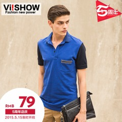 VIISHOW men's short sleeve POLO shirts in summer sahagin gentleman casual men's wave slim fit short sleeve polo shirt