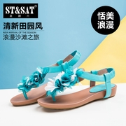 New Saturday summer toe Sheepskin fashion flat flower sweet girls Sandals SN42119006
