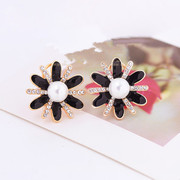 9.9 post Korean version of the classic temperament elegant diamonds painted flowers Korea earrings rings jewelry