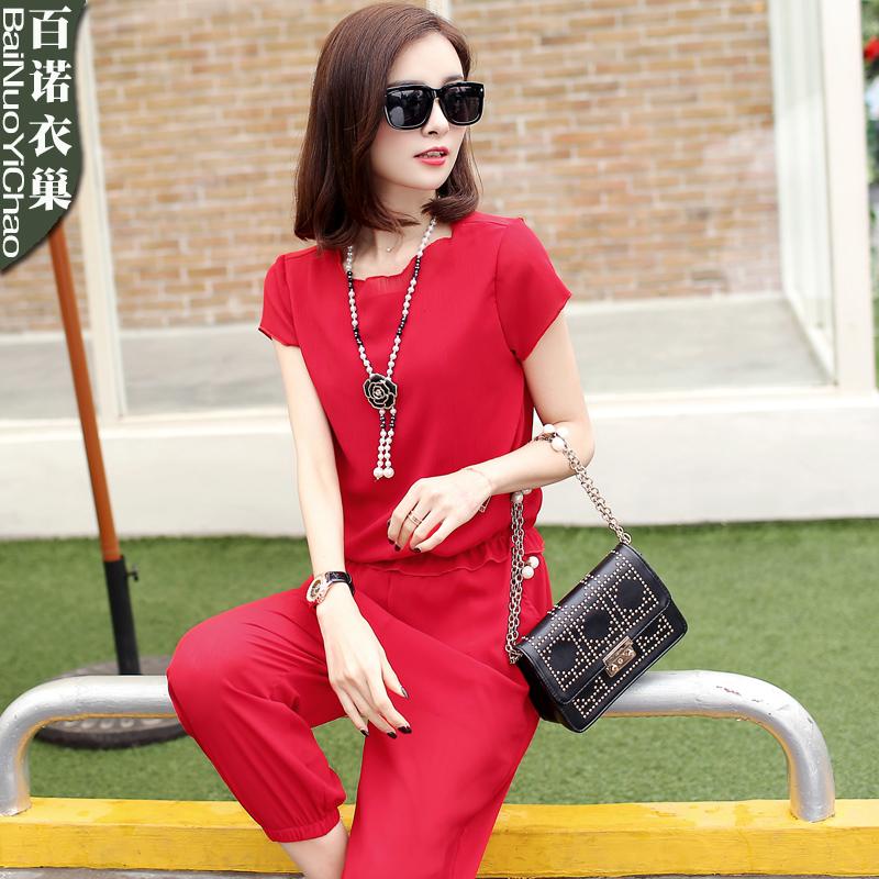 夏季套装女时尚两件套2017新款潮韩版夏装休闲服大码女装雪纺套装