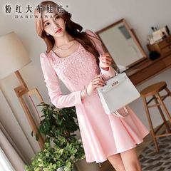 Long sleeve dress pink doll 2015 autumn new wave Korean version of the slim base skirt dress