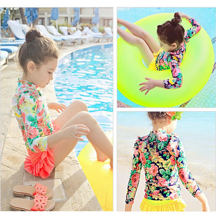 儿童泳衣女孩宝宝可爱韩国公主婴儿保暖女童分体裙长袖温泉游泳装