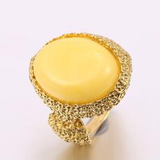 晶石灵巴洛克复古掐丝天然鸡油黄老蜜蜡琥珀戒指女士指环七夕礼物