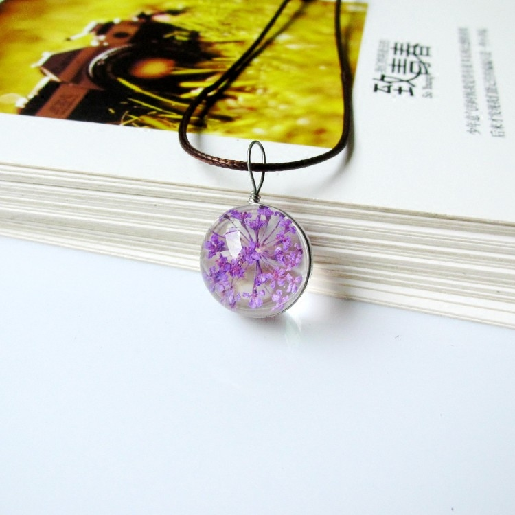 樱花饰品女生吊坠项链干花植物标本生日礼物玻璃球闺蜜锁骨链