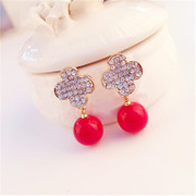Good Korean cute bows four leaf clover rhinestone ear studs earrings women Korea fashion red earrings ear jewelry