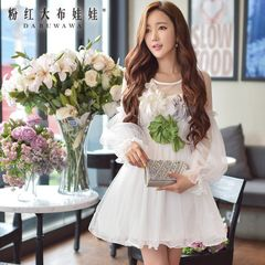 Dress big pink doll fall 2015 new dimensional flower mesh long sleeve sexy dress