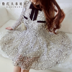 Dress big pink doll 2015 autumn new products women's long sleeve lace bubble dress