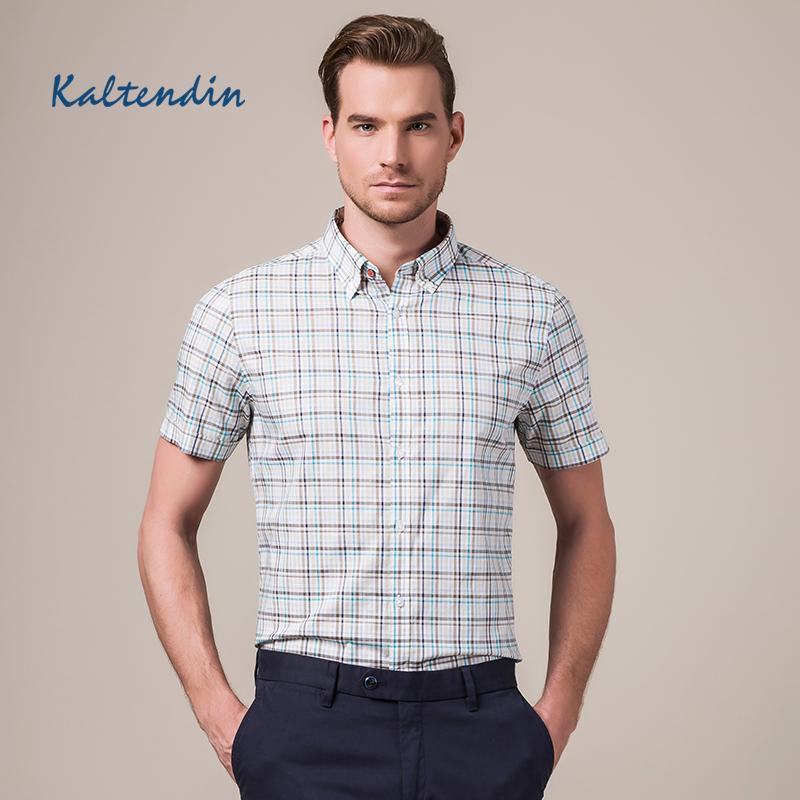 KALTENDIN/卡尔丹顿2016夏季新品男士短袖衬衫 纯棉修身格子衬衫