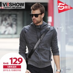 Viishow2015 spring and autumn men's Hooded sweater coat zipper Cardigan spliced long sleeves sweater men
