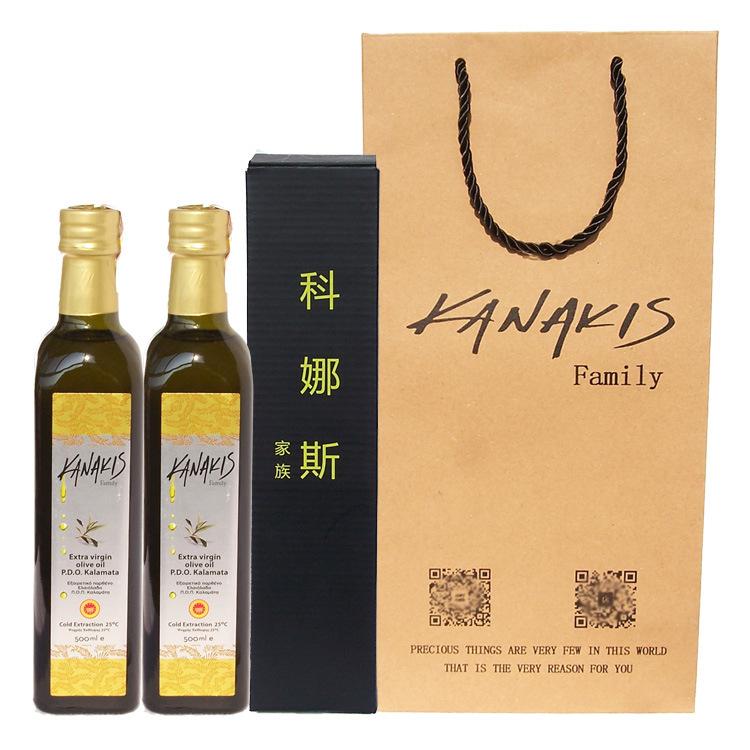 希腊原装进口橄榄油 PDO婴儿特级初榨橄榄油500毫升* 2瓶 礼盒装