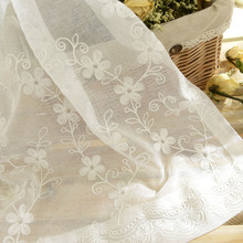 田园卧室客厅刺绣窗sd6 棉麻白lc沙罗马帘 成品白纱窗帘纷