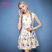 妖精的口袋 理想城邦 秋季新品女装蕾丝拼接复古印花无袖连衣裙