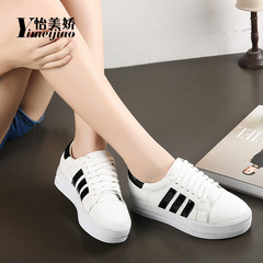 Yi Mei Jiao, spring 2016 Korean sports shoes and leisure shoes cake heavy bottom three bar shoes women''''s shoes shoes women boomers