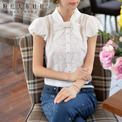 White shirt female pink doll 2015 summer dress new bow lace ruffled shirt with short sleeves