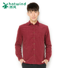 Hot winter menswear trends plus wool shirt men's long sleeve printed shirt Korean version of self 02W5904