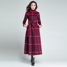 羊绒大衣女修身加长式正品羊毛ji11子毛呢ua码立领加厚加棉